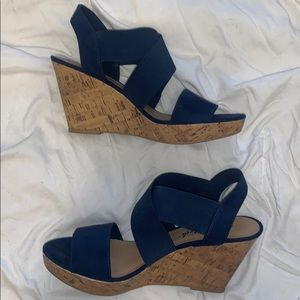 NWOT - like new Navy blue strap wedges